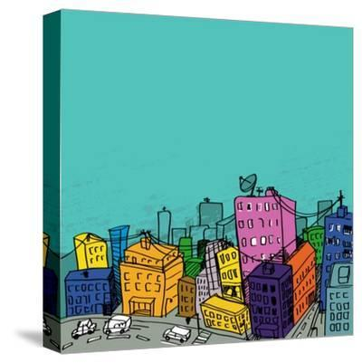 City Illustration-radoma-Stretched Canvas Print