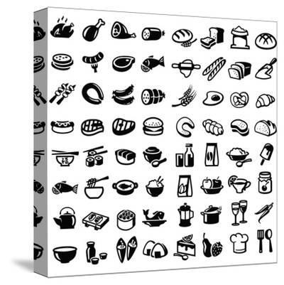 Food Icons-bioraven-Stretched Canvas Print
