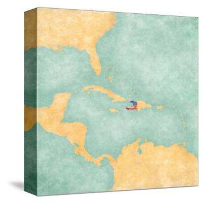 Map Of Caribbean - Haiti (Vintage Series)-Tindo-Stretched Canvas Print