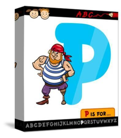 Letter P With Pirate Cartoon Illustration-Igor Zakowski-Stretched Canvas Print