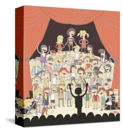 Funny School Choir Singing-vook-Stretched Canvas Print