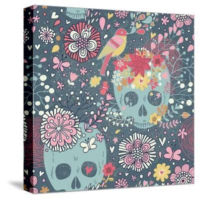 Mexican Concept Background with Flowers, Skulls and Birds-smilewithjul-Stretched Canvas Print