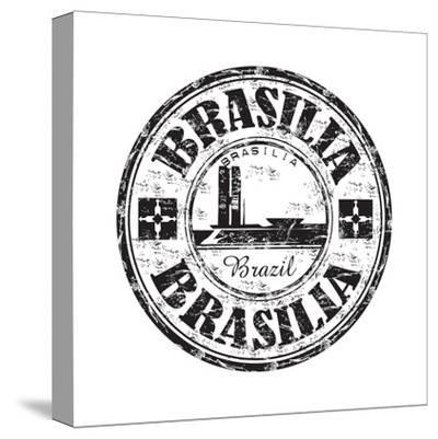 Brasilia Grunge Rubber Stamp-oxlock-Stretched Canvas Print