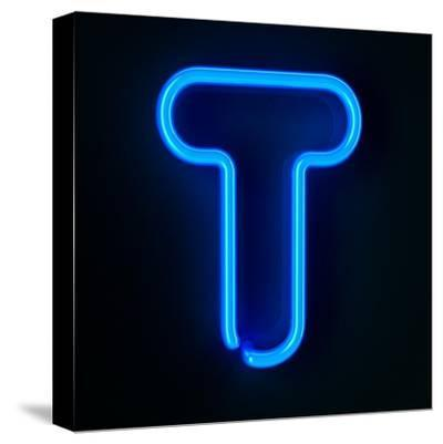 Neon Sign Letter T-badboo-Stretched Canvas Print