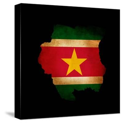 Outline Map Of Suriname With Grunge Flag Insert Isolated On Black-Veneratio-Stretched Canvas Print