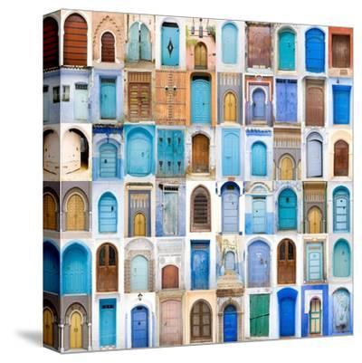 Very Old, Blue And Golden Doors Of Morocco-charobna-Stretched Canvas Print
