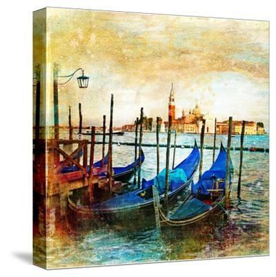 Mystery Of Venice - Artwork In Painting Style-Maugli-l-Stretched Canvas Print