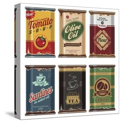 Retro Food Cans Collection-Lukeruk-Stretched Canvas Print