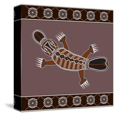 A Illustration Based On Aboriginal Style Of Dot Painting Depicting Platypus-deboracilli-Stretched Canvas Print