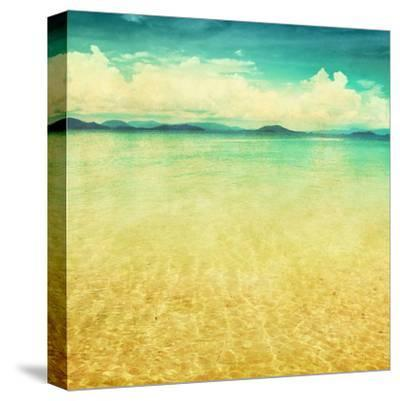 View Of The Sea In Grunge And Retro Style-Elenamiv-Stretched Canvas Print