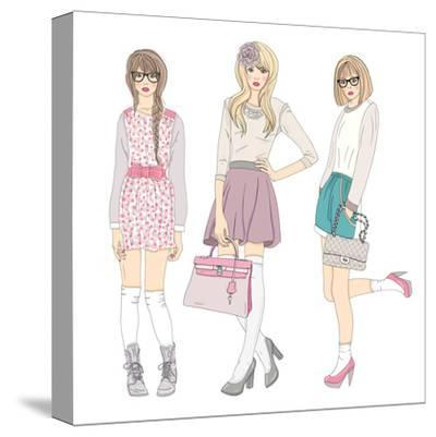 Young Fashion Girls Illustration. With Teen Females-cherry blossom girl-Stretched Canvas Print