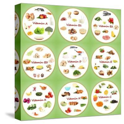 Collage Of Various Food Products Containing Vitamins-Yastremska-Stretched Canvas Print
