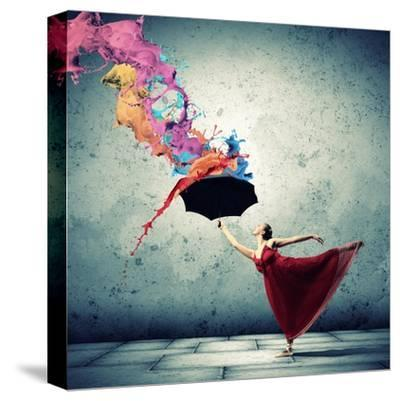 Ballet Dancer In Flying Satin Dress With Umbrella-Sergey Nivens-Stretched Canvas Print