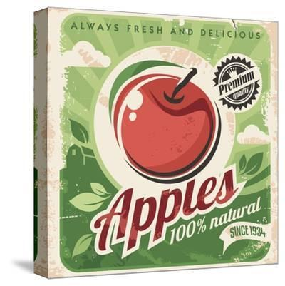 Apples Retro Poster-Lukeruk-Stretched Canvas Print