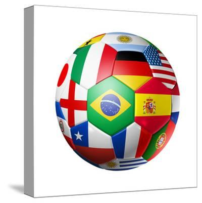 Football Soccer Ball with World Teams Flags-daboost-Stretched Canvas Print