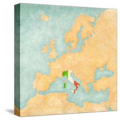 Map of Europe - Italy (Vintage Series)-Tindo-Stretched Canvas Print