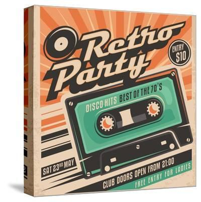 Retro Party Poster Design-Lukeruk-Stretched Canvas Print