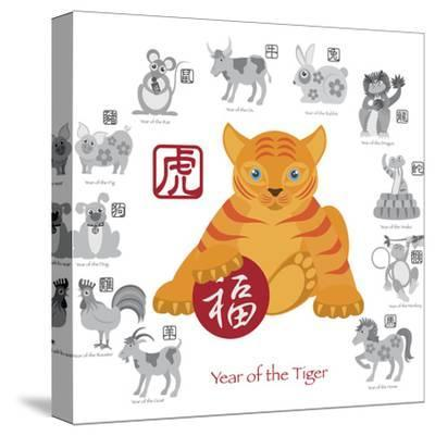 Chinese New Year Tiger Color with Twelve Zodiacs Illustration-jpldesigns-Stretched Canvas Print