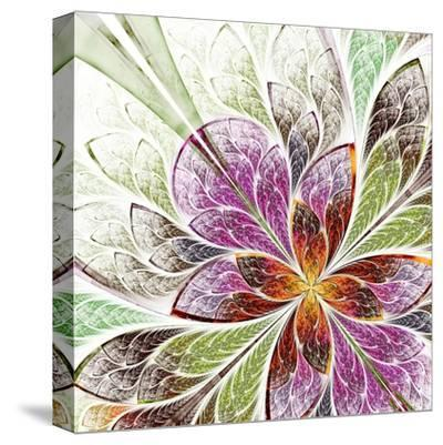Beautiful Fractal Flower in Beige, Green and Violet-velirina-Stretched Canvas Print