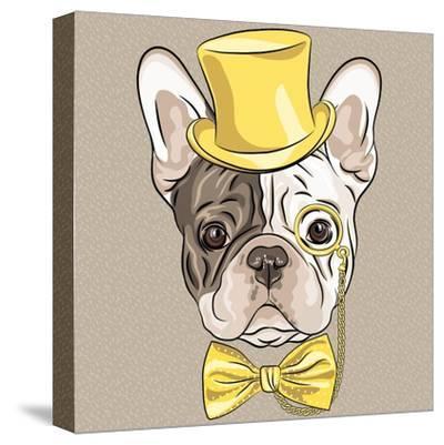 Vector Funny Cartoon Hipster French Bulldog Dog-kavalenkava volha-Stretched Canvas Print