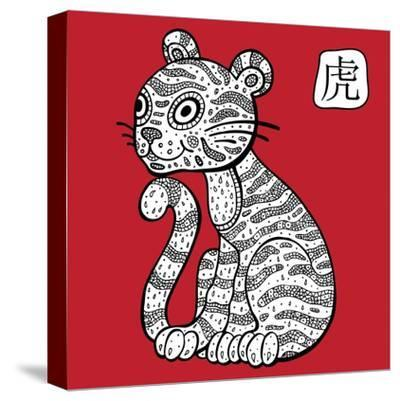 Chinese Zodiac. Animal Astrological Sign. Tiger.-Katyau-Stretched Canvas Print