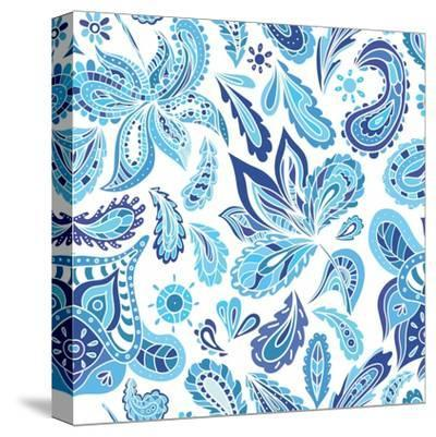 Blue Fresh Indian Vector Pattern-kisika-Stretched Canvas Print