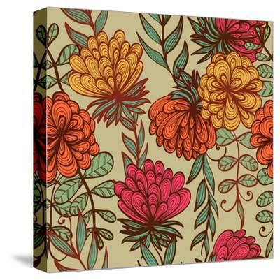 Hand Drawn Vintage Floral Pattern-tairen-Stretched Canvas Print