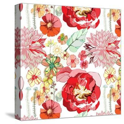 Pattern with Red Flowers- UyUy-Stretched Canvas Print