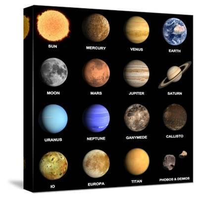 Planets and Some Moons of the Solar System-Tristan3D-Stretched Canvas Print