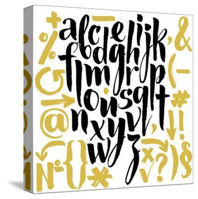 Vector Alphabet. Hand Drawn Letters. Letters of the Alphabet Written with a Brush.-veraholera-Stretched Canvas Print