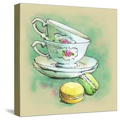 Painted Watercolor French Dessert Macaroons and Tea Cups-lozas-Stretched Canvas Print