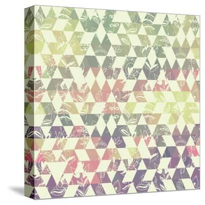 Pattern Geometric with Triangle and Plant Elements-Little_cuckoo-Stretched Canvas Print