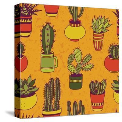 Succulents Garden - Seamless Pattern-LunaSolvo-Stretched Canvas Print