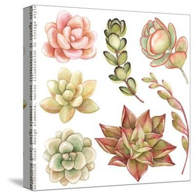Watercolor Collection of Succulents and Kalanchoe for Your Design, Hand-Drawn Illustration.-Nikiparonak-Stretched Canvas Print