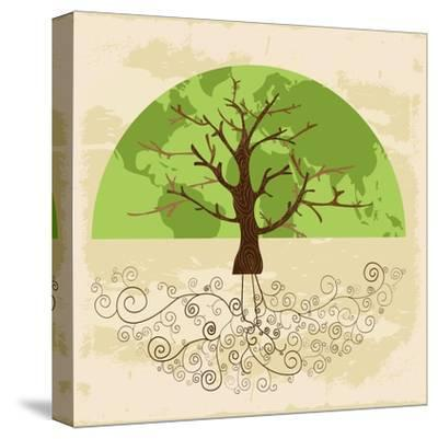 Tree World Concept-cienpies-Stretched Canvas Print