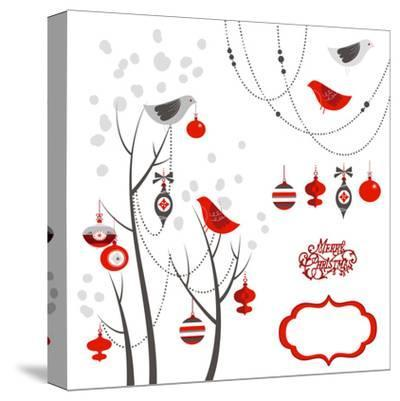 Retro Christmas Card with Two Birds, White Snowflakes, Winter Trees and Baubles-Alisa Foytik-Stretched Canvas Print