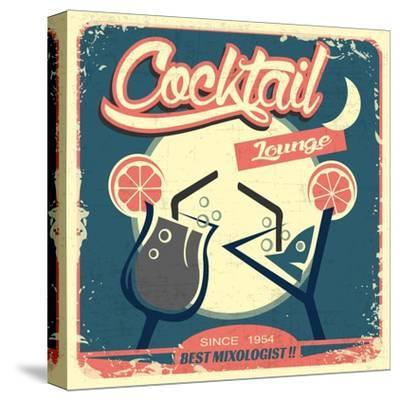 Cocktail Retro Poster-Ayeshstockphoto-Stretched Canvas Print
