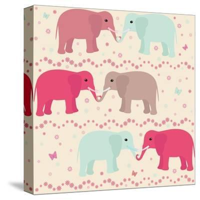 Romantic Seamless Pattern with Elephants-elein-Stretched Canvas Print
