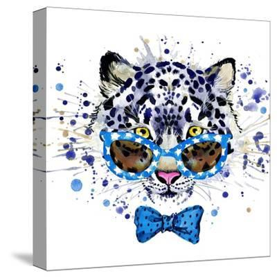 White Leopard T-Shirt Graphics. Cool Leopard Illustration with Splash Watercolor Textured Backgrou-Dabrynina Alena-Stretched Canvas Print