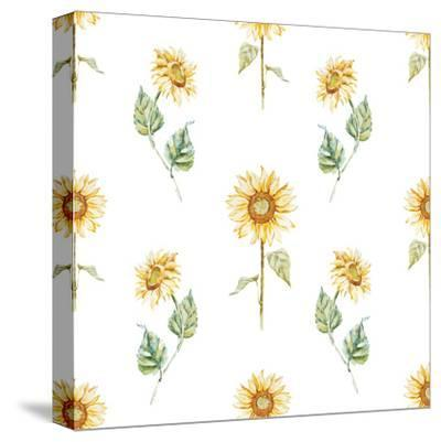 Watercolor Sunflower Pattern-Zenina-Stretched Canvas Print