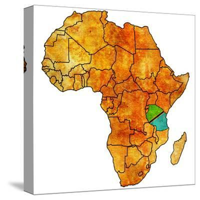 Tanzania on Actual Map of Africa-michal812-Stretched Canvas Print