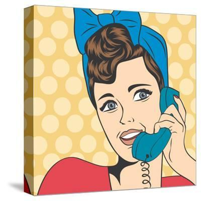 Woman Chatting on the Phone, Pop Art Illustration-Eva Andreea-Stretched Canvas Print