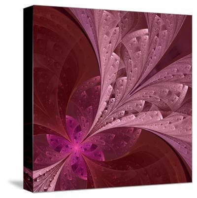 Beautiful Fractal Flower in Vinous and Purple-velirina-Stretched Canvas Print