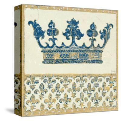 Regal Crown Indigo and Cream-Designs Meloushka-Stretched Canvas Print