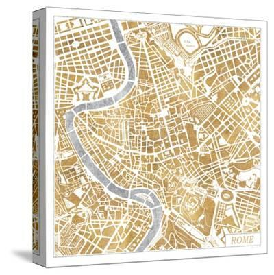 Gilded Rome Map-Laura Marshall-Stretched Canvas Print