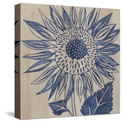 Indigo Sunflower-Chariklia Zarris-Stretched Canvas Print