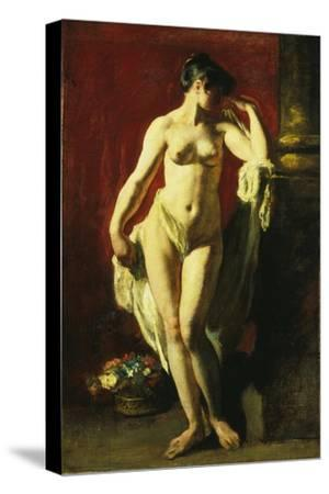 Standing Female Nude-William Etty-Stretched Canvas Print