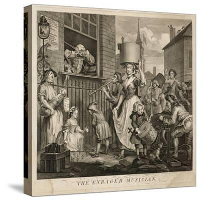 The Enraged Musician-William Hogarth-Stretched Canvas Print