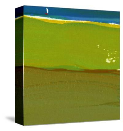 Green Abstract with Sailboat--Stretched Canvas Print