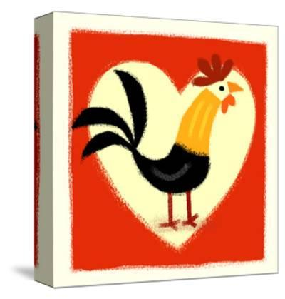 Rooster in Front of Heart--Stretched Canvas Print